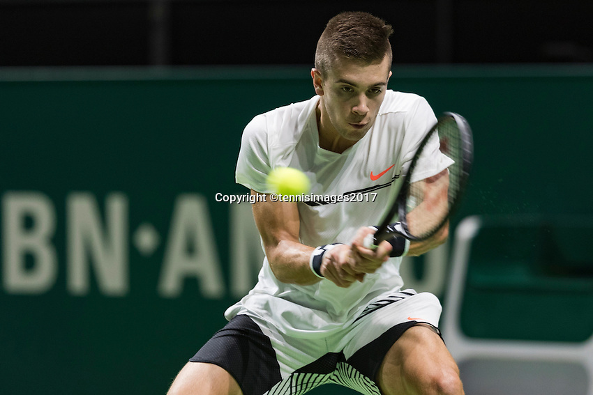 ABN AMRO World Tennis Tournament, Rotterdam, The Netherlands, 14 februari, 2017, Borna Coric (CRO)<br /> Photo: Henk Koster