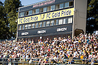 FC Gold Pride fans and banners on stadium. FC Gold Pride defeated the Boston Breakers, 2-1, in their home opener on April 5, 2009 at Buck Shaw Stadium in Santa Clara, CA.