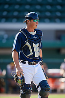 Lakeland Flying Tigers catcher Austin Athmann (19) during the first game of a doubleheader against the Bradenton Marauders on April 11, 2018 at Publix Field at Joker Marchant Stadium in Lakeland, Florida.  Lakeland defeated Bradenton 5-4.  (Mike Janes/Four Seam Images)