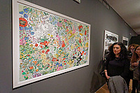"""Pictured: The """"Darker With The Day"""" painting.  Wednesday 03 April 2019<br /> Re: Official opening of Stefanos Rokos' exhibition """"No More Shall We Part"""" with paintings based on the 2001 Nick Cave and The Bad Seeds album with the same title, Benaki Museum, Athens, Greece."""