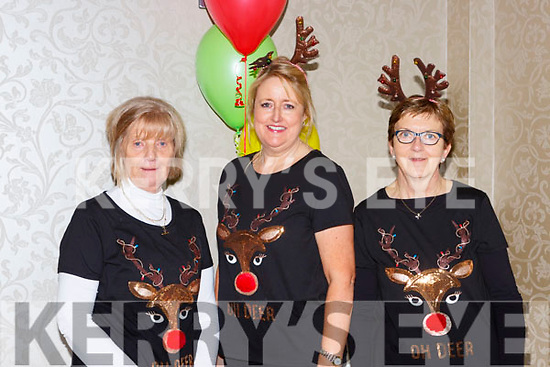 Joan Daly, Lorraine Kelly and Cecily O'Donoghue enjoying the Christmas party in the Killarney OAks hotel on Sunday