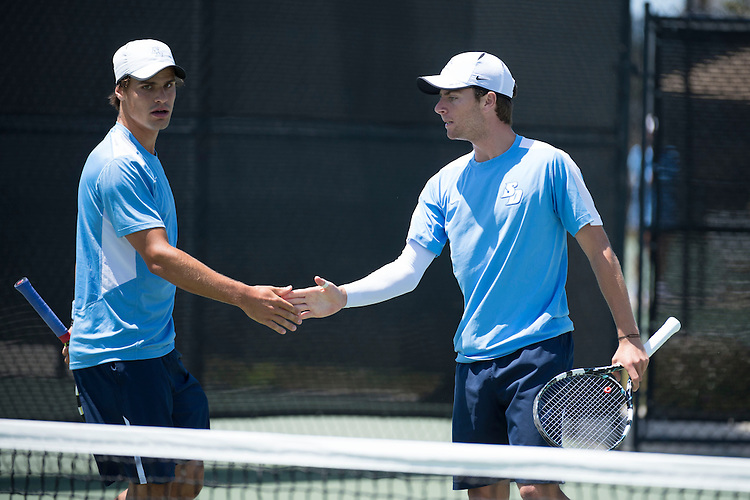 April 25, 2013; San Diego, CA, USA; San Diego Toreros players Thibaut Visy (left) and Clarke Spinosa (right) during the WCC Tennis Championships at Barnes Tennis Center.