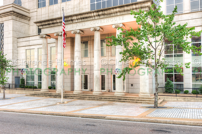 Front entrance to the US District Courthouse for the Western District of Tennessee in Jackson, Tennessee.