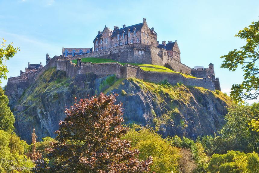 A view of Edinburgh Castle from Princess Gardens below.