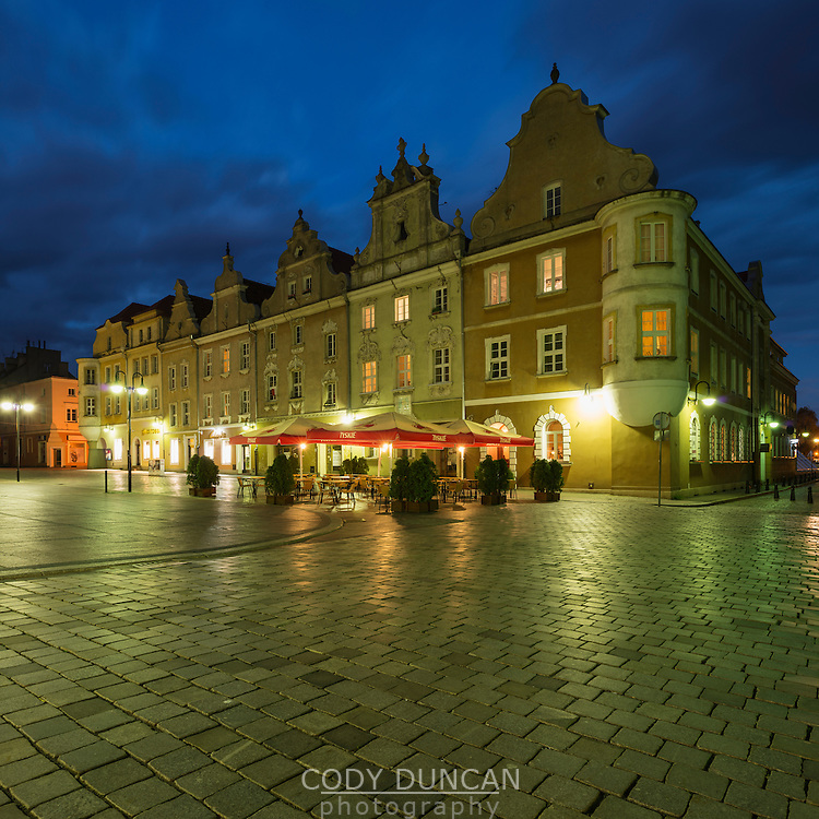 Historic buildings along Rynek market square, Opole, Silesia, Poland