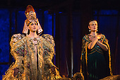 London, UK. 2 March 2016. L-R: Anthony Roth Costanzo as Akhnaten and Emma Carrington as Nefertiti. English National Opera (ENO) dress rehearsal of the Philip Glass opera Akhnaten at the London Coliseum. 7 performances from 4  to 18 March 2016. Directed by Phelim McDermott with Anthony Roth Costanzo as Akhnaten, Emma Carrington as Nefertiti, Rebecca Bottone as Queen Tye, James Cleverton as Horemhab, Clive Bayley as Aye, Colin Judson as High Priest of Amon and Zachary James as Scribe. Skills performances by Gandini Juggling.
