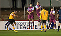 Annan's Ryan McStay scores their first goal.