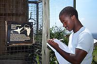 Student of the Mehlokazulu High School Enviro Club taking notes during their Nikela sponsored visit..October 2010..African Bird of Prey Sanctuary..Kwazulu-Natal, South Africa.