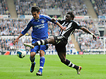 Newcastle's Obafemi Martins and Chelsea's Paulo Ferreira. during the Premier League match at the St James' Park Stadium, Newcastle. Picture date 5th May 2008. Picture credit should read: Richard Lee/Sportimage