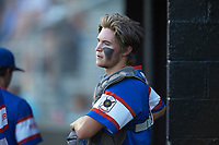 Mooresville Post 66 catcher Cole Robbins (18) during an American Legion baseball game against Kannapolis Post 115 at Northwest Cabarrus High School on May 30, 2019 in Concord, North Carolina. Mooresville Post 66 defeated Kannapolis Post 115 4-3. (Brian Westerholt/Four Seam Images)