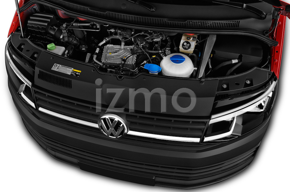 Car Stock 2016 Volkswagen Transporter - 5 Door Passenger Van Engine  high angle detail view