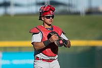 Surprise Saguaros catcher Jeremy Martinez (4), of the St. Louis Cardinals organization, during an Arizona Fall League game against the Mesa Solar Sox at Sloan Park on November 1, 2018 in Mesa, Arizona. Surprise defeated Mesa 5-4 . (Zachary Lucy/Four Seam Images)