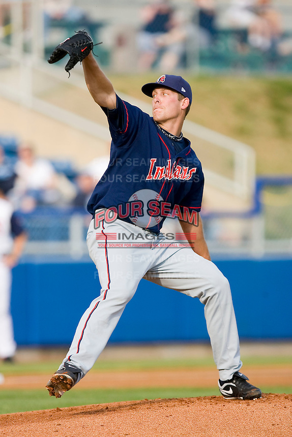 Starting pitcher Nick Hagadone #35 of the Kinston Indians in action against the Salem Red Sox at Lewis-Gale Field May 1, 2010, in Winston-Salem, North Carolina.  Photo by Brian Westerholt / Four Seam Images