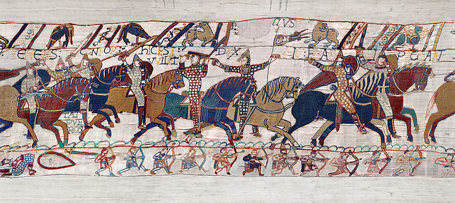11th Century Medieval Bayeux Tapestry - Scene 55 - Duke William takes off his helmet to show he has not been wounded.