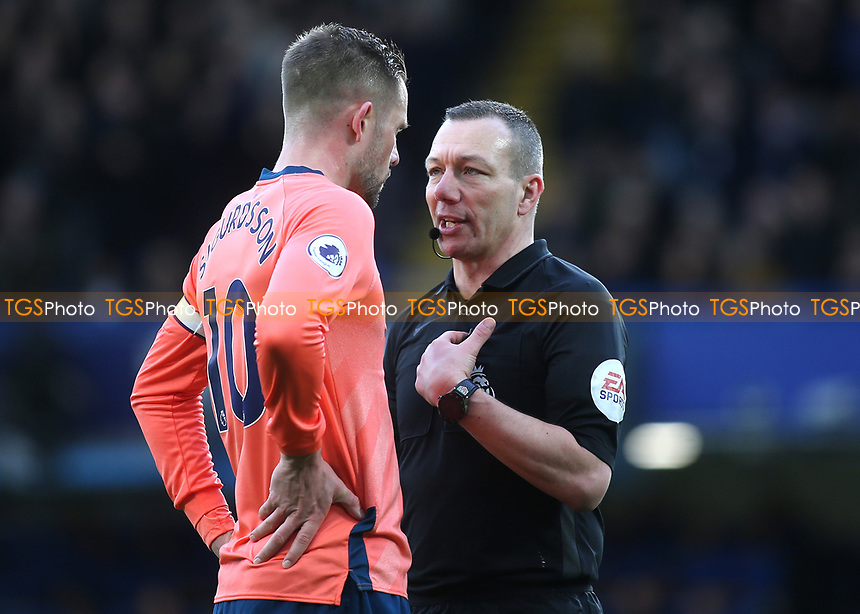 Referee Kevin Friend has words with Everton captain, Gylfi Sigurdsson during Chelsea vs Everton, Premier League Football at Stamford Bridge on 8th March 2020
