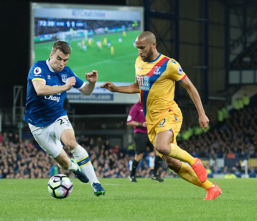 Everton's Seamus Coleman defends against Crystal Palace's Andros Townsend<br /> <br /> Photographer Terry Donnelly/CameraSport<br /> <br /> The Premier League - Everton v Crystal Palace - Friday 30th September 2016 - Goodison Park - Liverpool<br /> <br /> World Copyright &copy; 2016 CameraSport. All rights reserved. 43 Linden Ave. Countesthorpe. Leicester. England. LE8 5PG - Tel: +44 (0) 116 277 4147 - admin@camerasport.com - www.camerasport.com