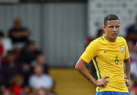 Guilherme Arana of Brazil during the International match between England U20 and Brazil U20 at the Aggborough Stadium, Kidderminster, England on 4 September 2016. Photo by Andy Rowland / PRiME Media Images.