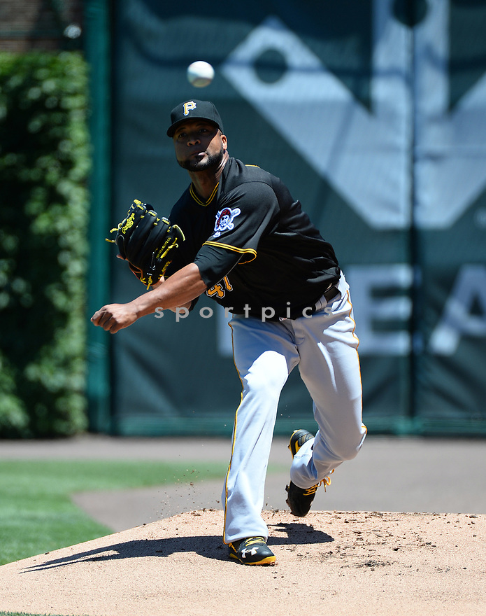 Pittsburgh Pirates Francisco Liriano (47) during a game against the Chicago Cubs on June 17, 2016 at Wrigley Field in Chicago, IL. The Cubs beat the Pirates 6-0.