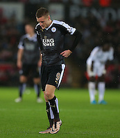 Jamie Vardy of Leicester City shows a look of dejection during the Barclays Premier League match between Swansea City and Leicester City played at The Liberty Stadium on 5th December 2015