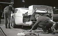 "#47 ""Pink Panzer"" Porsche of Frank Rubino, Pepe Romero, Doc Bundy, and Dale Whittington makes a pit stop during the 1983 24 Hours of Daytona , Daytona Internationa Speedway, Daytona Beach, FL, February 1-2, 1983.  (Photo by Brian Cleary / www.bcpix.com)"