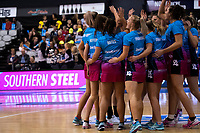 The Steel huddle before warming up for the ANZ Premiership netball grand final between the Central Pulse and Southern Steel at Arena Manawatu in Palmerston North, New Zealand on Sunday, 12 August 2018. Photo: Dave Lintott / lintottphoto.co.nz