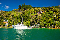 Beautiful waters of Mistletoe Bay in Marlborough Sounds - Marlborough, New Zealand