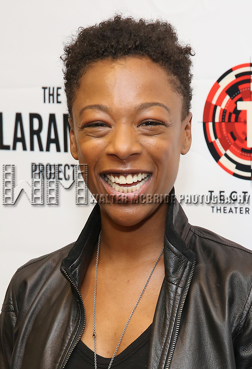 """Samira Wiley attends the cast photo call for """"Laramie: A Legacy""""  on September 24, 2018 at The Gerald W. Lynch Theater at John Jay College in New York City."""