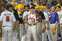 United States Representative Bill Pascarell (Democrat of New Jersey) leads his teammates in handshakes with the GOP team following his team's 11 - 2 victory in the 56th Annual Congressional Baseball Game for Charity where the Democrats play the Republicans in a friendly game of baseball at Nationals Park in Washington, DC on Thursday, June 15, 2017.  At right is US Office of Management and Budget Director Mick Mulvaney. Photo Credit: Ron Sachs/CNP/AdMedia