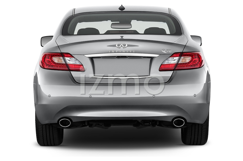 Straight rear view of a 2015 Infiniti Q70 Base 4 Door Sedan Rear View  stock images