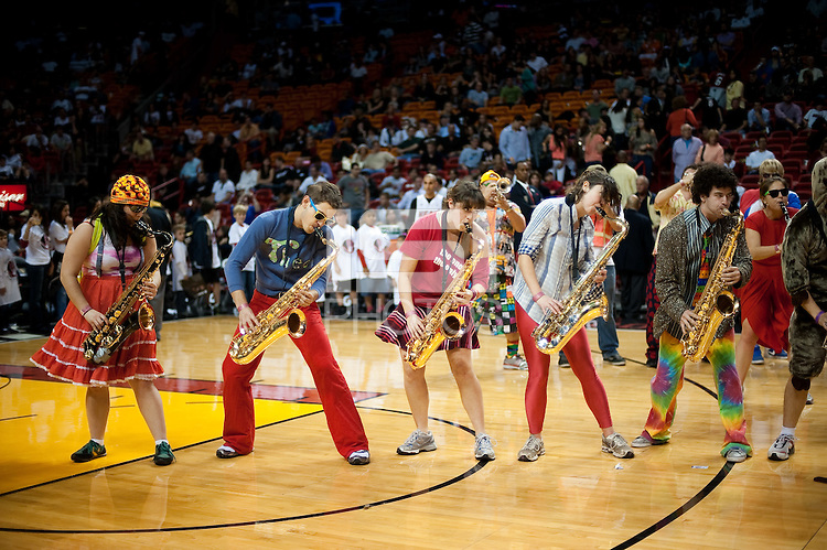 MIAMI, FL--The Stanford Band performs during halftime as the Miami Heat take on the Golden State Warriors basketball team at the American Airlines Arena in Miami, Florida.