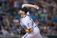 Charlotte Knights starting pitcher Lucas Giolito (27) delivers a pitch to the plate against the Indianapolis Indians at BB&T BallPark on June 16, 2017 in Charlotte, North Carolina.  The Knights defeated the Indians 12-4.  (Brian Westerholt/Four Seam Images)