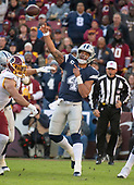 Dallas Cowboys quarterback Dak Prescott (4) releases a pass early in the first quarter against the Washington Redskins at FedEx Field in Landover, Maryland on Sunday, October 21, 2018.<br /> Credit: Ron Sachs / CNP