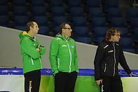 SCHAATSEN: HEERENVEEN: IJsstadion Thialf, 08-11-2012, training Thialf, Sicco Janmaat (assitstent trainer), Jac Orie (trainer), Bjarne Rykkje (assitent trainer), ©foto Martin de Jong
