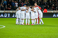 Swansea Huddle during the Barclays Premier League match between Swansea City and Sunderland played at the Liberty Stadium, Swansea  on  January the 13th 2016