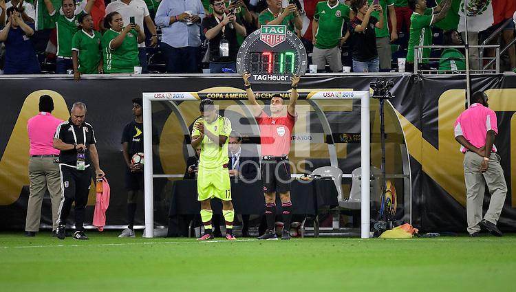Houston, TX - Monday June 13, 2016: Josef Martinez, Armando Villareal, Sponsor, Substitution Board during a Copa America Centenario Group C match between Mexico (MEX) and Venezuela (VEN) at NRG Stadium.