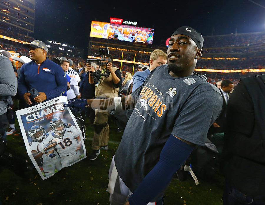 Feb 7, 2016; Santa Clara, CA, USA; Denver Broncos cornerback Kayvon Webster (36) celebrates after defeating the Carolina Panthers in Super Bowl 50 at Levi's Stadium. Mandatory Credit: Mark J. Rebilas-USA TODAY Sports