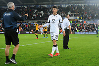 Jack Evans of Swansea City applauds the fans at the final whistle during the Carabao Cup Second Round match between Swansea City and Cambridge United at the Liberty Stadium in Swansea, Wales, UK. Wednesday 28, August 2019.