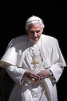 Pope Benedict XVI during his weekly general audience in the courtyard of his summer residence of Castelgandolfo, 40 kms south-east of Rome,   on August 29, 2012.