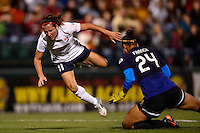 Sky Blue FC forward Lisa De Vanna (11) flies over Western New York Flash goalkeeper Adrianna Franch (24) after they collide. The Western New York Flash defeated Sky Blue FC 2-0 during a National Women's Soccer League (NWSL) semifinal match at Sahlen's Stadium in Rochester, NY, on August 24, 2013.