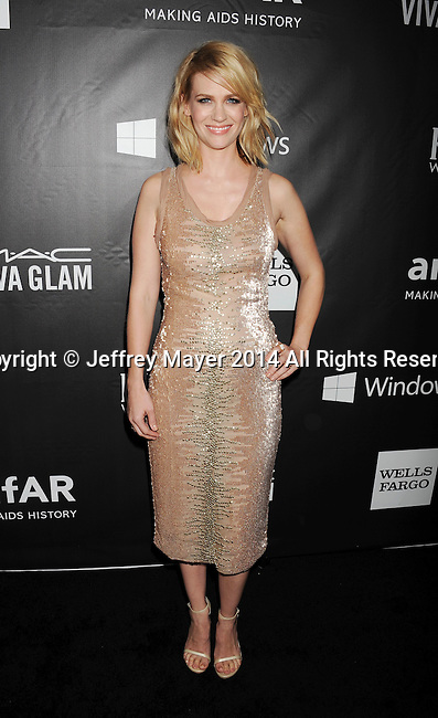 HOLLYWOOD, CA- OCTOBER 29: Actress January Jones attends amfAR LA Inspiration Gala honoring Tom Ford at Milk Studios on October 29, 2014 in Hollywood, California.