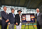 (C-R) Norichika Aoki, Reid Ryan (Astros),<br /> JUNE 12, 2017 - MLB :<br /> Norichika Aoki of the Houston Astros receives a commemorative gift and a cowboy hat from Reid Ryan, the president of the Houston Astros, during a pregame ceremony honoring his 2000th career hit before the Major League Baseball game against the Texas Rangers at Minute Maid Park in Houston, Texas, United States. (Photo by AFLO)