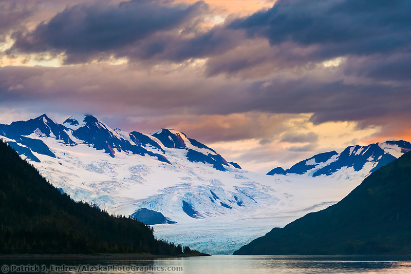 Sunset over the Chugach mountains and Harriman tidewater glacier, Chugach National Forest, Prince William Sound, Alaska.