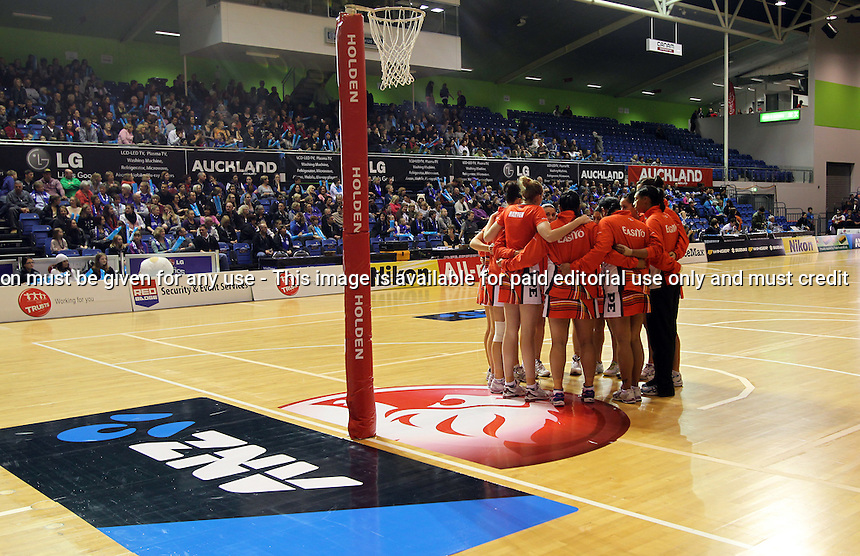 27.05.2012 Action during the ANZ Champs netball match between the Mystics and Tactix played at the Trusts Stadium in Auckland. Mandatory Photo Credit ©Michael Bradley.