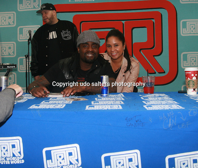 Wale and Angela Yee  at J&R MUSIC WORLD hosts the exclusive NYC signing for hip-hop rising star WALE'S critically acclaimed new album AMBITION at J&R Music Store, 23 Park Row, NY   11/2/11