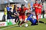 20.04.2019, Carl Benz Stadion, Mannheim, GER, RL Sued, SV Waldhof Mannheim vs. VfR Wormatia Worms, <br /> <br /> DFL REGULATIONS PROHIBIT ANY USE OF PHOTOGRAPHS AS IMAGE SEQUENCES AND/OR QUASI-VIDEO.<br /> <br /> im Bild: Giuseppe Burgio (VfR Wormatia Worms #11) gegen Mete Celik (SV Waldhof Mannheim #3)<br /> <br /> Foto © nordphoto / Fabisch