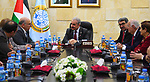 Palestinian Prime Minister Mohammad Ishtayeh meets with a delegation from the Union of Sons of Ramallah in the United States, at his headquarter in the West Bank city of Ramallah, April 24, 2019. Photo by Prime Minister Office