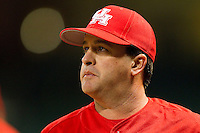 Houston Cougars head coach Todd Whitting #9 watches the action during the game against the Texas A&M Aggies at Minute Maid Park on March 6, 2011 in Houston, Texas.  Photo by Brian Westerholt / Four Seam Images
