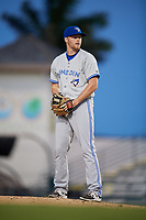Dunedin Blue Jays starting pitcher Josh DeGraaf (13) gets ready to deliver a pitch during a game against the Bradenton Marauders on May 2, 2018 at LECOM Park in Bradenton, Florida.  Bradenton defeated Dunedin 6-3.  (Mike Janes/Four Seam Images)