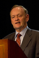 may 14, 2003, Montreal, Quebec, Canada.<br /> <br /> Jean Chretien, Prime Minister of Canada and  Leader of Canada Liberal Party speak at the annual Liberal party benefit dinner in Montreal, for the last time as Prime Minister,  May 14, 2003.<br /> <br /> Chretien will step downas leader of the party and as Prime Minister in January 2004 and is most likely to be replaced by former Minister and Finances Paul Martin.<br /> <br /> Mandatory Credit: Photo by Pierre Roussel- Images Distribution. (©) Copyright 2003 by Pierre Roussel