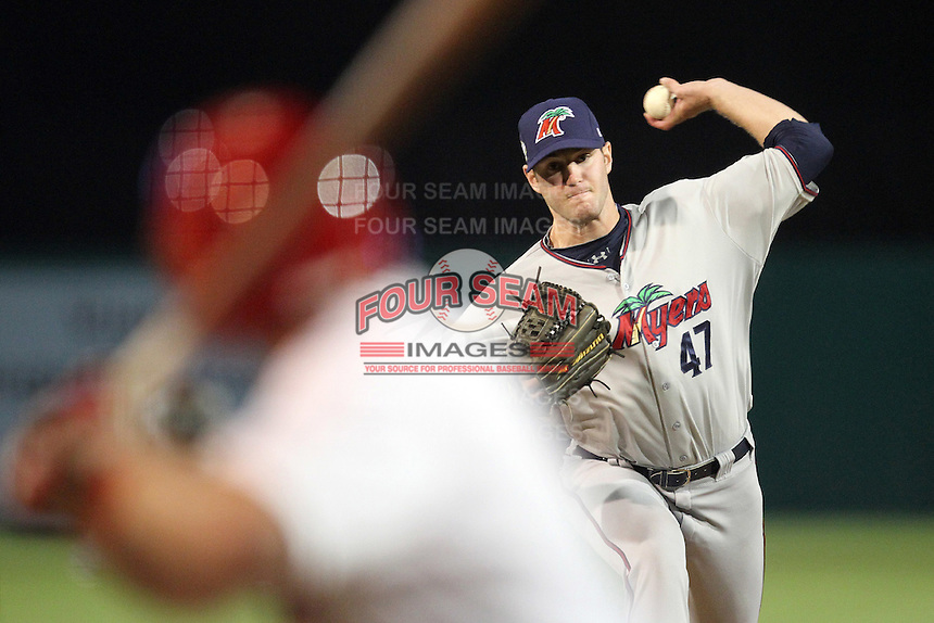 Fort Myers Miracle pitcher Cole Nelson #47 during a game against the Palm Beach Cardinals at Roger Dean Stadium on May 2, 2012 in Jupiter, Florida.  Fort Myers defeated Palm Beach 2-1.  (Mike Janes/Four Seam Images)
